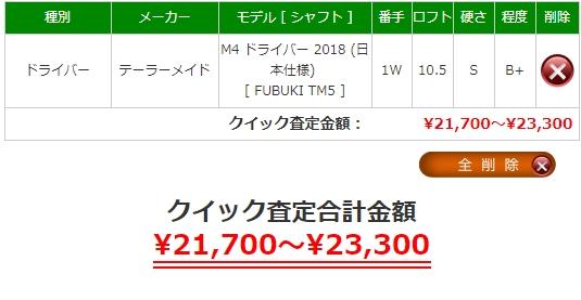 M4ドライバーの査定価格は¥21,700~23,300です