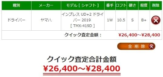 2019年2月のインプレスUD+2 ドライバーの買取相場は¥26,400から28,400です