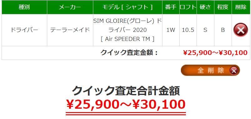 今現在のSIMグローレの買取価格。相場がこちら
