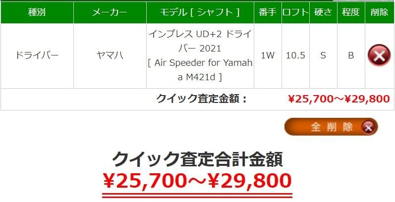 インプレスUD+2ドライバーの買取相場価格は25,700~29,800です